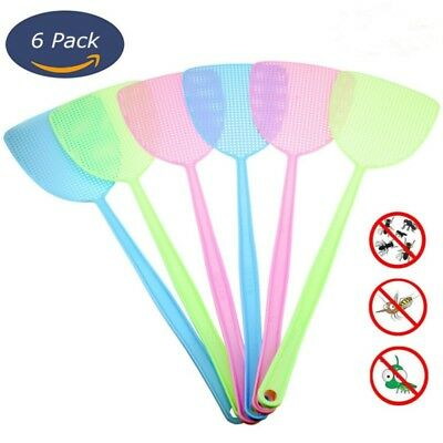 UK 6 Pack Fly Swatter Manual Swat Pest Control Plastic with Long Handle Assorted