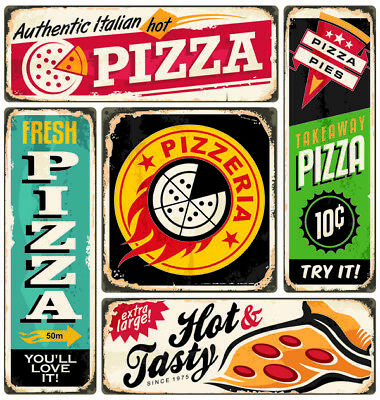 Vintage Pizza Metal Signs, Retro Fast Food Plaques, American Diner, Choice Of 5