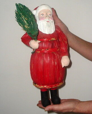 "Vintage / Antique German Santa Claus Figurine > 15"" Hand Carved Wood & Wicker"