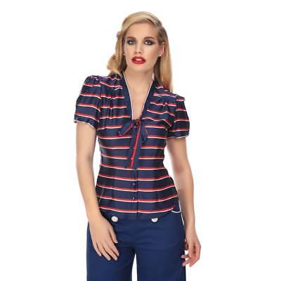 Collectif Vintage Tura Striped Blouse