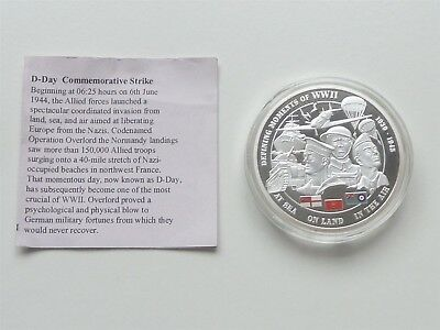2011 40mm D DAY LANDINGS PROOF CU SILVER PLATED SPOT GOLD COLOURED