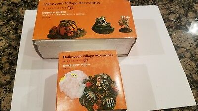 Dept 56 Halloween village accessory lot Forgotten Garden and Watch Your Step
