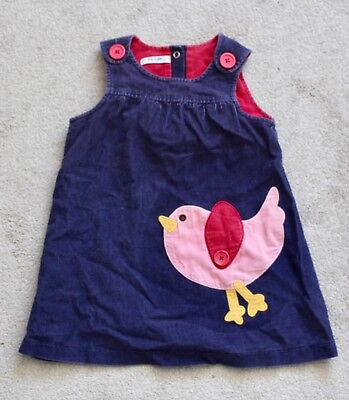 Baby Boden Blue Corduroy Dress With Pink Bird Appliqué 18-24mths