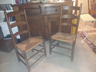 2 Antique Shaker Style Oak Ladder Back Rush Seat Dining Chairs