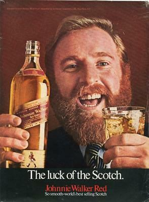 Johnnie Walker Red Label Print Ad - Luck Of The Scotch -Man With Beard Bar Decor
