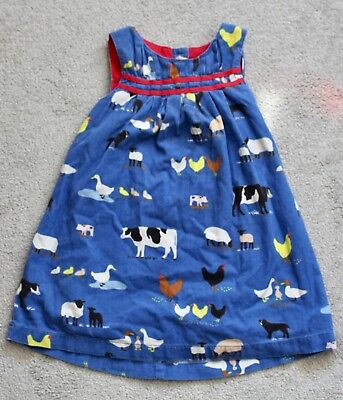 Baby Boden Blue Corduroy Dress With Farmyard Animals Print - Ages 18-24mths