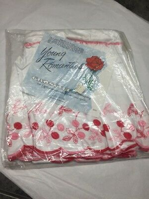 Vtg 2 Curtain Panels Pink Red Cherrys On White Rayon NIP Young Romantic Croscill
