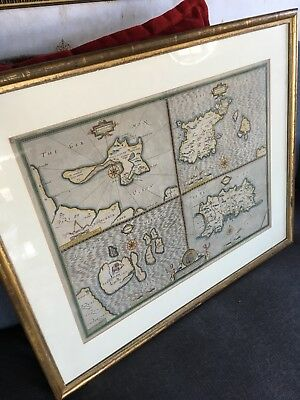 Antique Framed John Speed 1610 Garnsey Holy Island Jersey Farne Ile