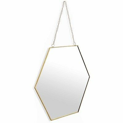 Beautify Vintage Style Wall Mirror Hexagon Shape with Gold Chain