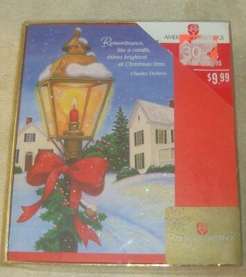 Vintage Old Fashioned Glitter Christmas Old House Lantern Cards NEW Putz Tree