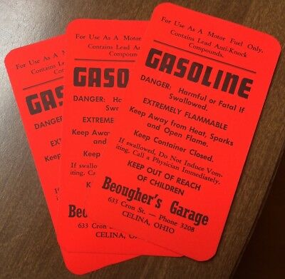 (3) Advertisng Gas Can Identification Tags: Beougher's Garage Celina Ohio  Nos