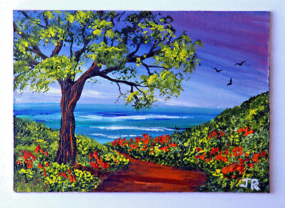 "ACEO Original Miniature Painting: ""Pathway to the Sea"" by Judith Rowe"