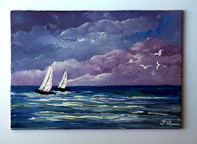 "ACEO Original Miniature Painting: ""Storm Brewing"" by Judith Rowe"