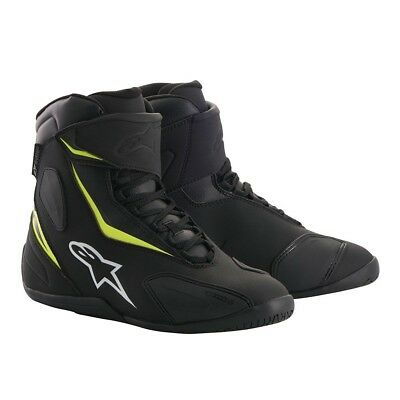 Alpinestars Fastback-2 Drystar Waterproof Motorcycle Shoes - Black/Flo Yellow