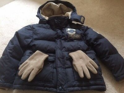 "Boys ""Timberland"" Down Jacket & Gloves - Size 10"