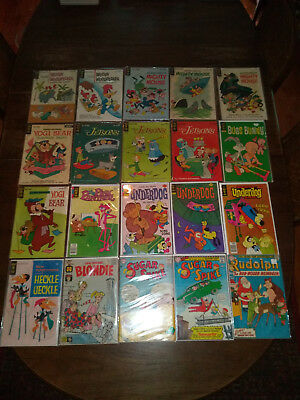 Lot of 20 Comics Gold Key Harvey DC Bugs Bunny Jetsons Mighty Mouse Underdog