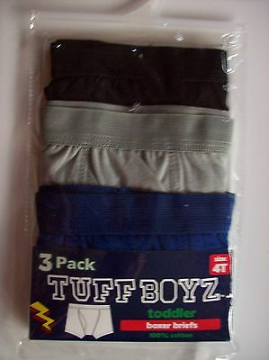 Tuff Boyz Underwear Underpants Three Boxer Briefs Sz 4Toddler Blk Blue Grey NIP