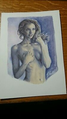 Original Signed Female Nude Figure Watercolour & Acrylic Painting