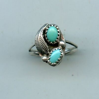 Vintage Sterling Silver Robins Egg Blue Turquoise Ring S-5
