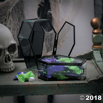 Hinged Glass Coffin Halloween Decoration Indoor Glass Tabletop Decoration