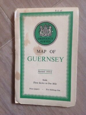 Map Of Guernsey Revised 1955/56 Ordnance Survey Scale 3 Inch / 1 Mile Good Cond