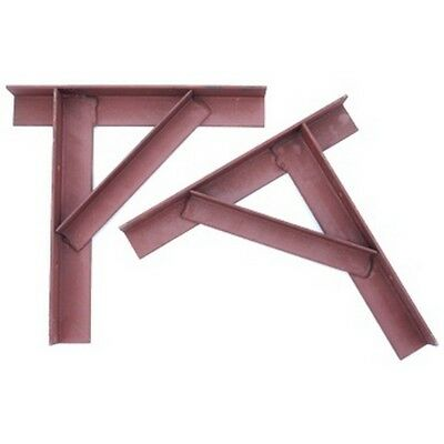 Steel Gallows Chimney Support Brackets-Pair Painted Red Oxide