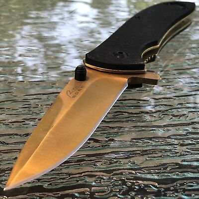 "7"" SPRING ASSISTED TACTICAL GOLD POCKET KNIFE FOLDING Open Assist EDC Switch"