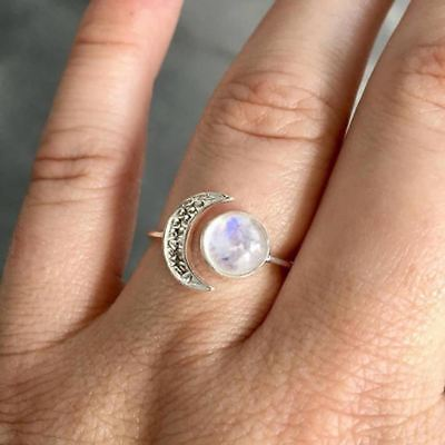 DAINTY Sun & Crescent Moon Antique Silver Style Ring