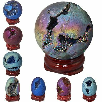 AMAZING Titanium Coated Druzy Geode Sphere Crystal HEALING Stone Egg/Ball Sculpt