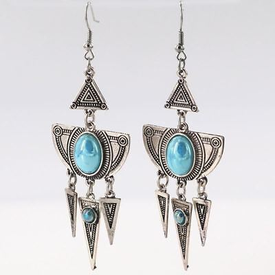 STUNNING LARGE Triangle Drop Carved Stone Boho Dangle Earrings