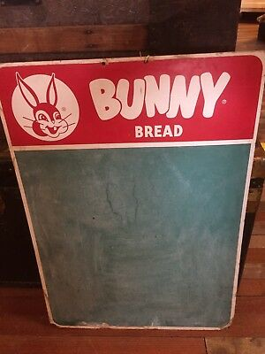 "Vintage Bunny Bread Advertising Premium Sign / Grocery List Chalkboard 28"" x 20"""