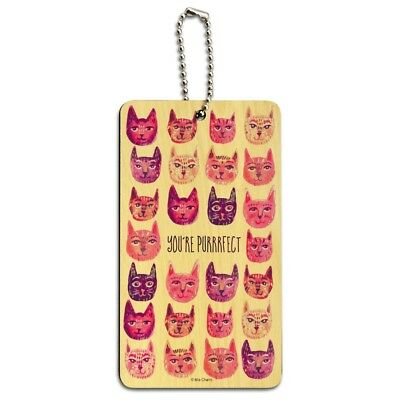 You´re Purrrfect Perfect Cat Heads Wood Luggage Card Suitcase Carry-On ID Tag