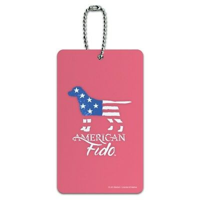 American Fido Dog American Flag Luggage Card Suitcase Carry-On ID Tag