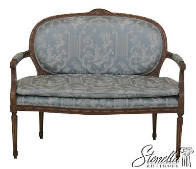 45862EC: French Louis XV Carved Frame Settee Loveseat