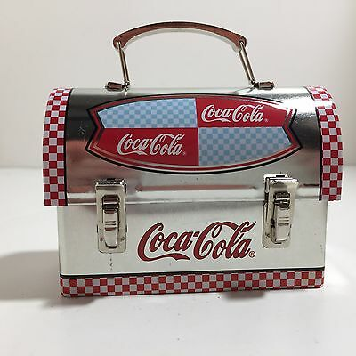 Mini Coca Cola Lunchbox Tin Silver with Red White Checkers Miniature K