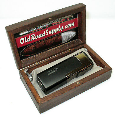 Old Road Black Quad Red Flame Butane Torch Cigar Lighter Punch w Mini Humidor