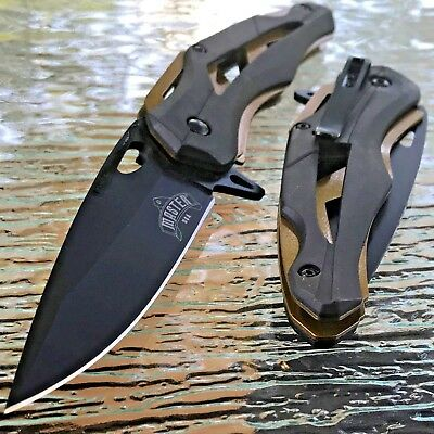 """8.0"""" Master Usa Assisted Tactical Rescue Gold Black Folding Pocket Knife Open"""