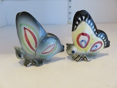 Vintage Japan Colorful Butterfly Salt And Pepper Shakers