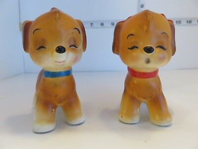 Vintage Japan Adorable Boy And Girl Puppy  Salt And Pepper Shakers