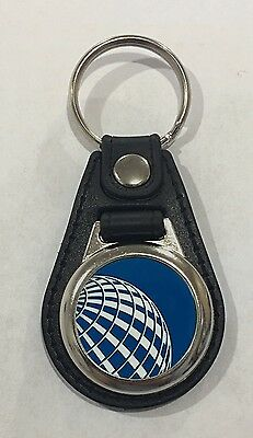 United Continental airlines Logo Key Chain Leather Look Key Ring✈️✈️✈️✈️✈️✈️