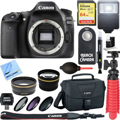Canon EOS 80D 24.2 MP CMOS Digital SLR Camera (Body) - Memory & Flash Kit