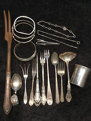 Antique Victorian Sterling Silver 16  Fancy Pieces Ice Pick Spoons Forks 11 Oz