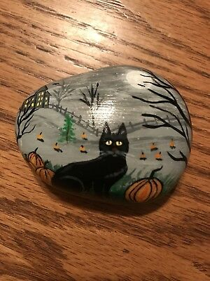 Original Hand Painted Halloween Black Cat With Pumpkins Haunted House Moon  Rock