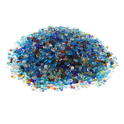 1 Pack Coloured Glass Pebbles 4-12 mm Home Wedding Mosaic Garden Decoration