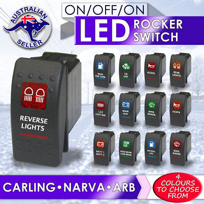 Rocker Switch ARB Carling Style dual backlit red blue green amber LED ON-OFF-ON