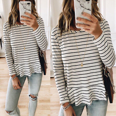 Autumn Women's T-shirts Striped Tops Round Neck Long Sleeve Casual Loose Blouses
