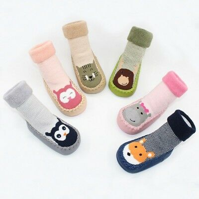 Child Toddler Baby Girls Boys Cartoon Cotton Anti-Slip Socks Slipper Shoes Boots
