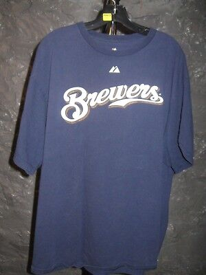Milwaukee Brewers MLB Majestic Classic Blue Ryan Braun #8 XL T-Shirt