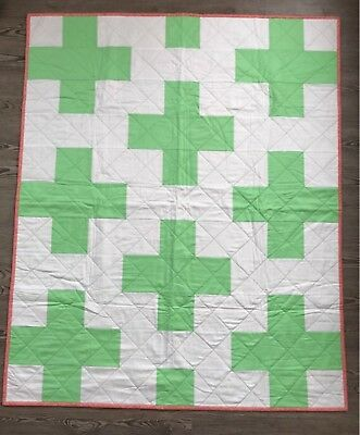 Modern Baby Plus Sign Toddler Quilt, Handmade Quilt For Sale
