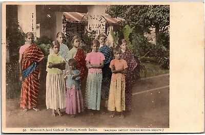 Mission School Girls at Nellore, South India c1911 Vintage Postcard I12